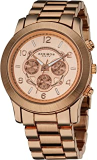Akribos XXIV Women's Multifunction Rose Gold Bracelet Watch - Beveled Bezel- Brushed Dial with Date and Day Subdial - Push...
