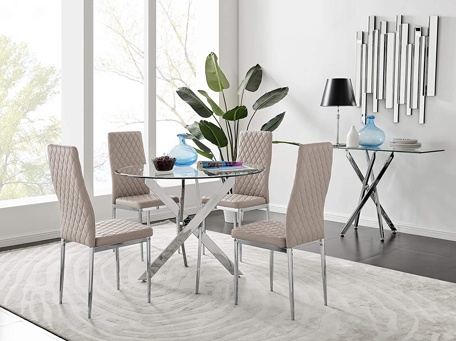 Novara Modern Round Chrome Metal And Clear Glass Dining Table And 9 Stylish  Faux Leather Chrome Leg Milan Dining Chairs Set Dining Table + 9 ...