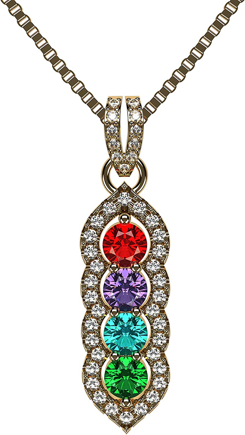 Max 53% Popular products OFF Halo Tower Mother's Necklace w 3 Simulated to in Birthstones 6