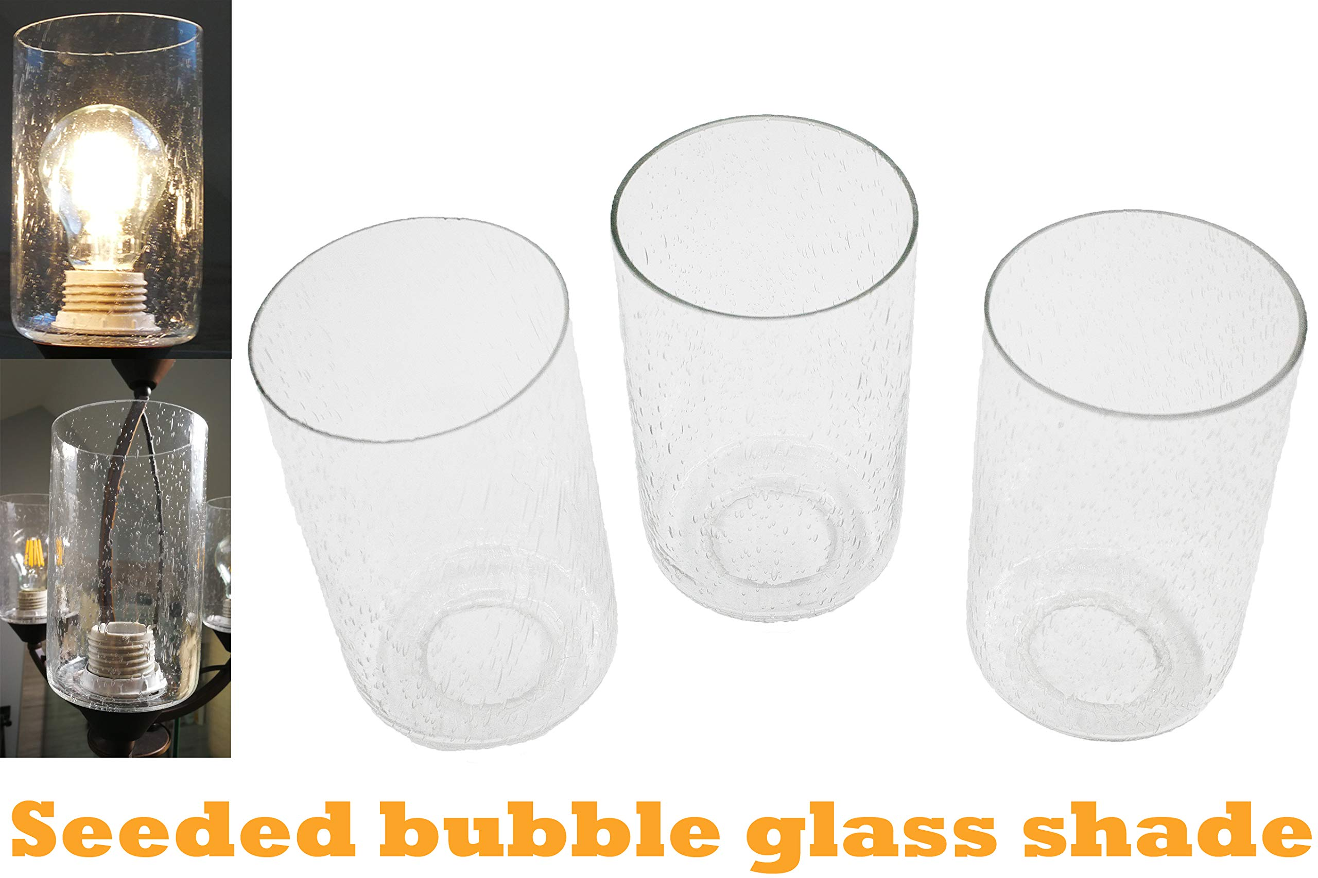 Bubble Seeded Glass Lamp Shade Ledupdates 3 Packs Clear Cylinder For Light Fixture Glass Replacement Amazon Com