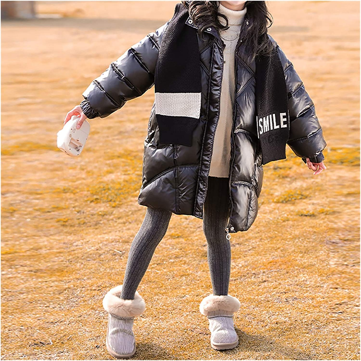 Durable Girls Hooded Down Coat Quilted Puffer Jacket Children Winter Coats for Kids Long Length Puffer Jacke Snow (Color : Black, Size : Medium)