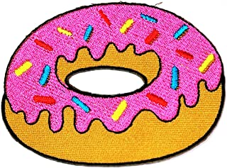 Strawberry Donut Iron Sew On Embroidered Applique for Clothes Patch Cartoon Pizza French Fries Ice Cupcakes Doughnut Cream Cone Retro Fun Dessert Sweets Fast Food Kids Sticker Patch (19)