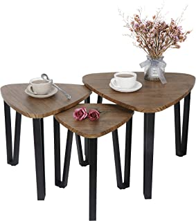 SUPER DEAL Nesting Coffee Table Living Room Coffee Table Set of 3 Stacking End Side Tables Nightstand Coffee Snack Table for Home and Office