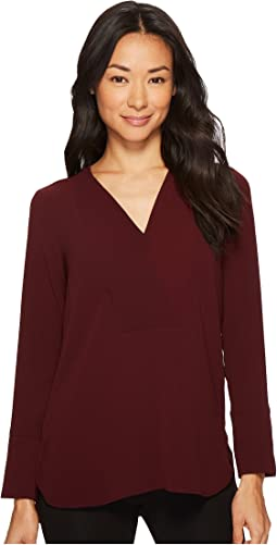 Vince Camuto Specialty Size - Petite Long Sleeve Doubled V-Placket Tunic