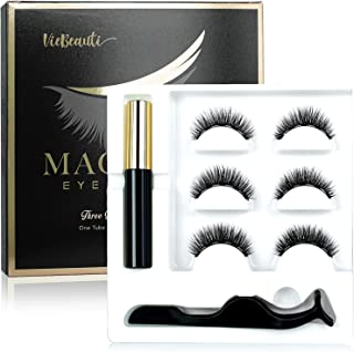 Viebeauti Magnetic Eyeliner and Magnetic Eyelash Kit - 3 Pairs Reusable Magnetic False Lashes with Natural Look - No Glue Needed - Comes With Applicator