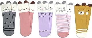 SYEEGCS Calcetines de Algodón para Bebé Niños Niñas Animales Dibujos Animados Termicos Suaves Respirables Elásticos 5 Pares