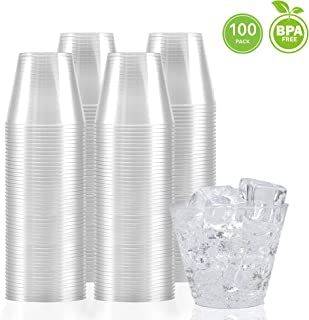 9 Ounce Clear Plastic Cups (100 Count) Disposable Party Cups - Old Fashioned Reusable Plastic Tumblers, Clear