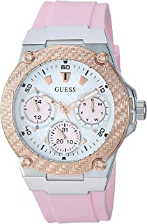 GUESS Women's Stainless Steel Japanese Quartz Watch with Silicone Strap, Pink, 22 (Model: U1094L4)