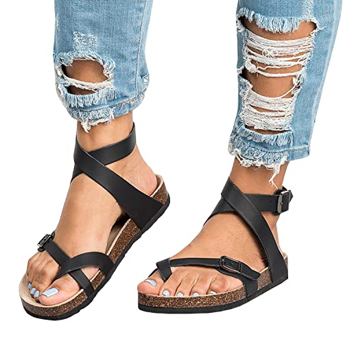 a88019b43bbd Outgobuy Womens Fisherman Sandals Flat Ankle Buckle Gladiator Thong Flip  Flop Casual Summer Shoes