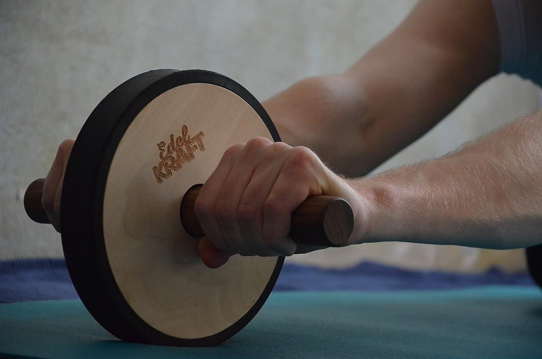 EdelKRAFT/® Bauchroller AB-Roller Bauchmuskeltraining und K/örperspannung Aus Holz und Naturgummi Made in Germany