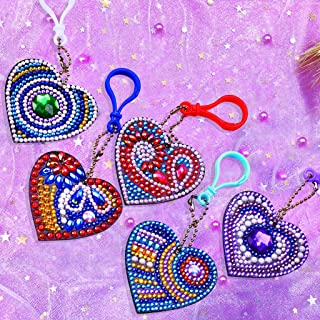 5 PCS 5D DIY Special Shaped Full Drill Love Heart Diamond Painting Kits for Kids and Adult, Stick Paint with Diamonds by Numbers Easy to DIY Keychain Pendant Kits for DIY Art Craft Ross Beauty