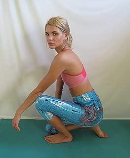 Artist Designed Capri Leggings for Woman - Aqua