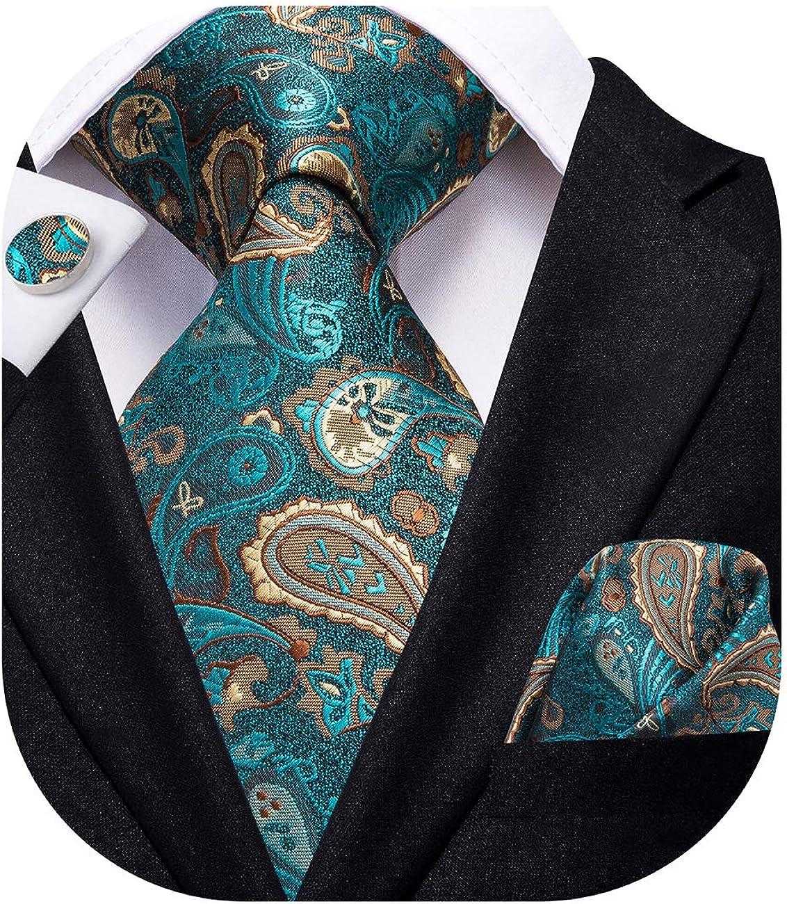 Hi-Tie Green Paisley Silk Tie for Wedding Mens Necktie with Pocket Square