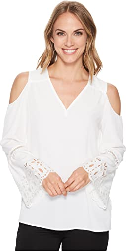 Calvin Klein Cold Shoulder Blouse with Embroidery