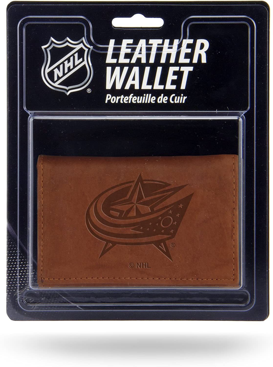 NHL Rico Industries Leather Trifold Wallet with Man Made Interior, Columbus Blue Jackets : Everything Else