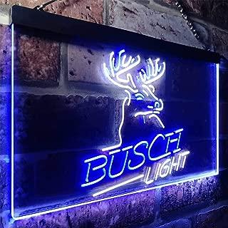 Busch Light Beer Deer Bar Novelty LED Neon Sign White + Blue W12 x H8