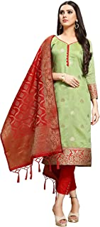 EthnicJunction Women's Chanderi Silk Jacquard Unstiched Dress Material With Banarasi Dupatta