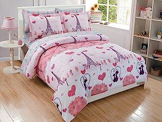 Goldenlinens Golden Linens Full Size 8 Pieces Printed Comforter with sheet set Bed in Bag Multi colors White Black Pink Paris Eiffel Tower Design Girls//Kids//Teens # Full 8 Pc Paris