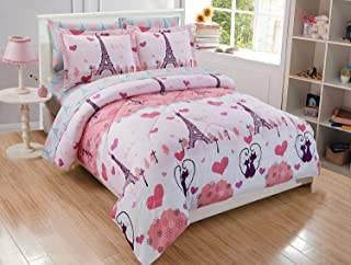 Elegant Home Multicolors Pink Grey Paris Eiffel Tower Bonjour Design 7 Piece Queen Size Comforter Bedding Set for Girls/Kids Bed In a Bag With Sheet Set # Paris (Queen Size)