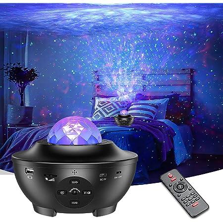 Projecteur Ciel Étoile Hiluckey Veilleuse Enfant LED Lampe Projecteur Étoile avec Nuage Nébuleuse/Contrôle Vocal/ Télécommande/Bluetooth et Minuterie, Océan Wave Projecteur pour Fête, Home-Cinéma
