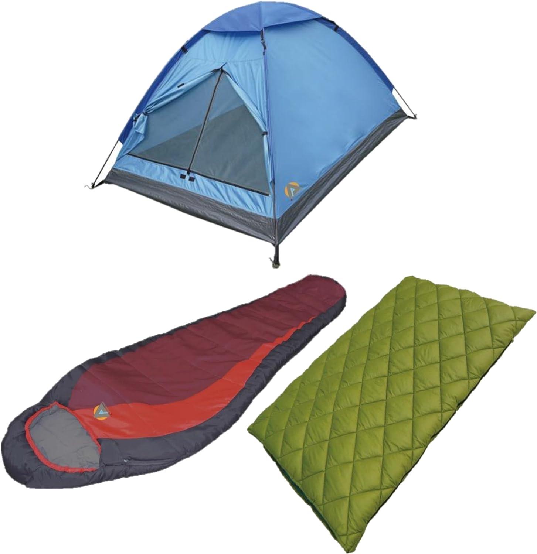 High Peak USA Alpinizmo Redwood 5 + Florida 20 + Monodome 3 Tent Combo Set, Red Green blueee, One Size