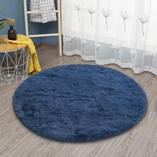 Goideal Round Fluffy Area Rug for Bedroom, Light Navy...