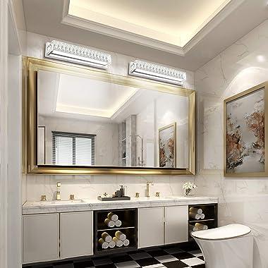 ZUZITO Crystal Dimmable Bathroom Vanity Lighting Fixtures 7500 Modern LED Vanity Lights Over Mirror White Light