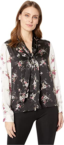 Long Sleeve Delicate Bouquet Tie Neck Color Block Blouse