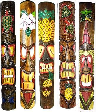 """Set of 5 40"""" Polynesian Hawaiian Tiki Bar Style Wall Masks Island Art"""