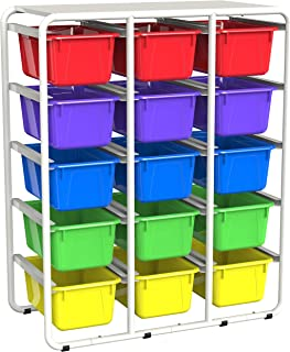 Storex Storage Rack with 15 Cubby Bins, Assorted Colors (62492E01C)
