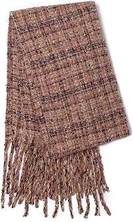 M Retail Women's Fall Winter Long Fringe Plaid Shawl Warm Scarf Warm Tartan Wrap Shawl Blanket