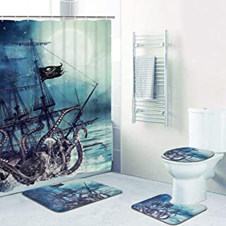 Octopus Kraken Shower Curtain Sets with Non-Slip Rugs, Toilet Lid Cover and Bath Mat, Nautical Sailboat Shower Curtains with 12 Hooks, Durable Waterproof Bath Curtain(70 X 69 inches, Blue)