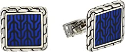 Classic Chain Cufflinks with Transparent Enamel