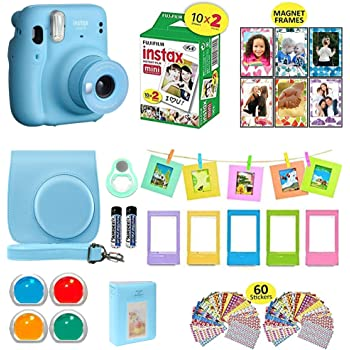 Fujifilm Instax Mini 11 Instant Camera Sky Blue + Carrying Case + Fuji Instax Film Value Pack (20 Sheets) Accessories Bundle, Color Filters, Photo Album, Assorted Frames