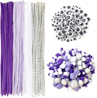 Pipe Cleaners Crafts Set, Wartoon Pipe Cleaners Chenille Stem and Pompoms with Googly Wiggle Eyes for Craft DIY Art Supplies, 500 Pieces, Purple
