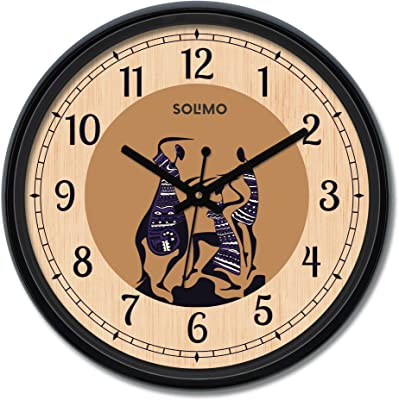 Amazon Brand - Solimo 12-inch Wall Clock - Warli (Silent Movement)