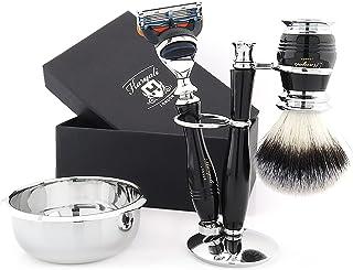 Męski zestaw maszynki do golenia dla mężczyzn - kompletny 4-częściowy zestaw pędzli syntetycznych ze stojakiem i miską do ...