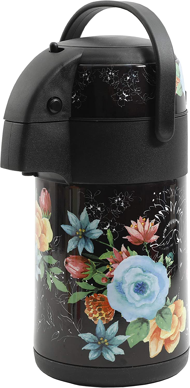 Mr Coffee 新作販売 2.34 Qt Decorated Pump Pot テレビで話題 With Floral Handle Black