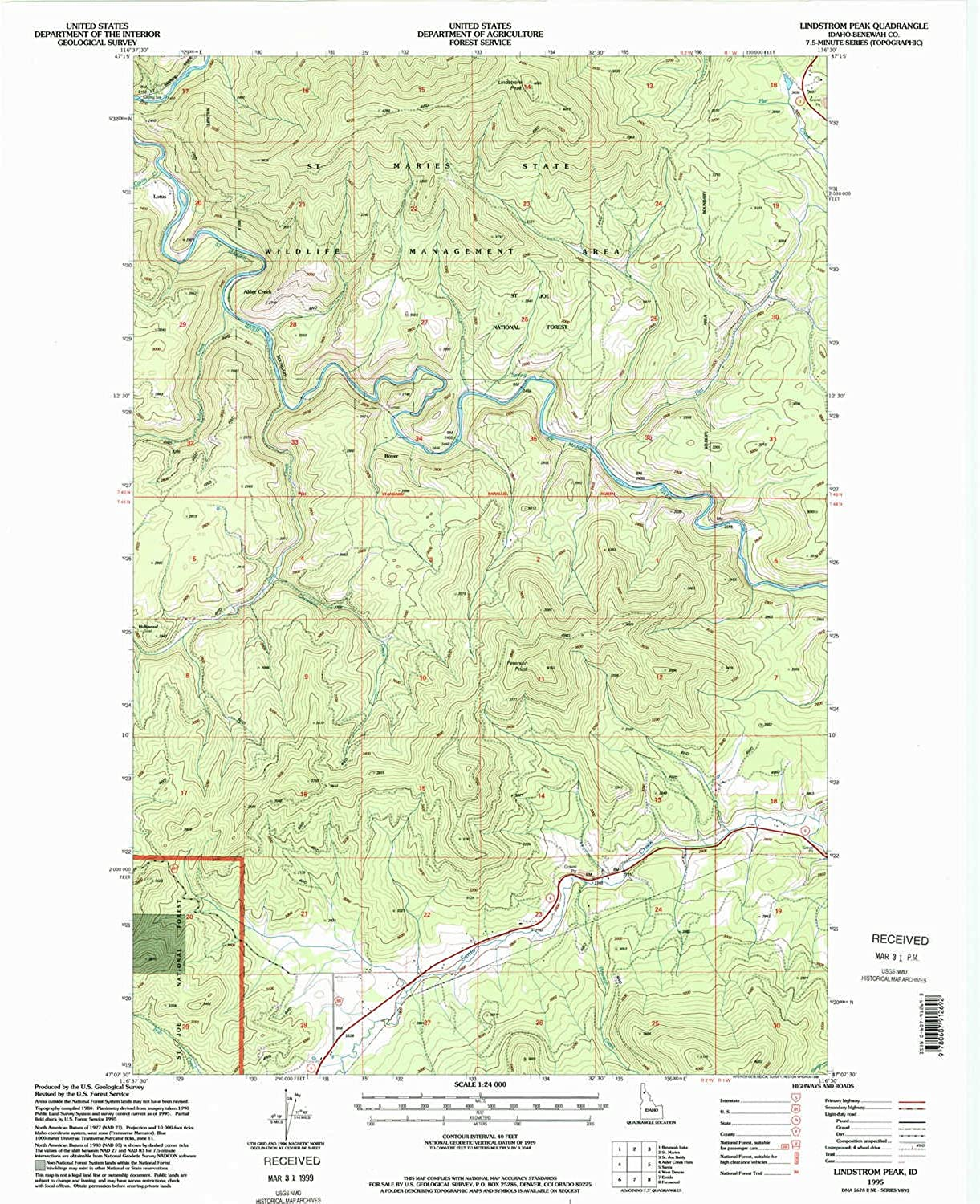 Lindstrom Peak ID topo map, 1 24000 Scale, 7.5 X 7.5 Minute, Historical, 1995, Updated 1998, 27 x 22 in