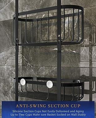 Kadolina Bathroom Hanging Shower Organizer, Over Head Shower Caddy Basket with Hooks for Razor and Sponge, Rustproof Stainles