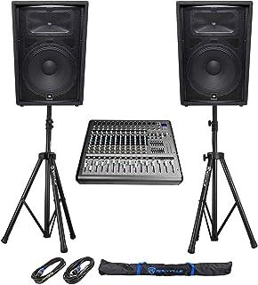 """2) JBL Pro JRX215 15"""" 2000w PA/DJ Speakers+Powered 14-Channel Mixer w/USB+Stands"""
