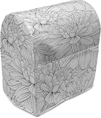 Lunarable Abstract Stand Mixer Cover, Dahlia Flowers in Sketch Art Style Vintage Petals with Contouring Outlines, Kitchen App