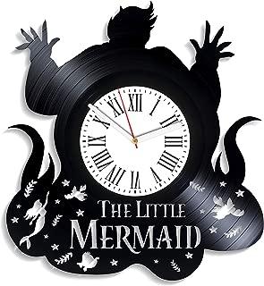 Kovides Ursula Art The Little Mermaid Vinyl Clock Original Clock Disney Cartoon Vintage Vinyl Record Clock Birthday Gifts for Girls The Little Mermaid Clock Handmade Decor for Nursery Gift for Kids