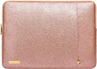 MOSISO Laptop Sleeve Compatible with 13-13.3 Inch MacBook Air/MacBook Pro Retina/2019 Suface Laptop 3/Surface Book 2, PU Leather Vertical Style Super Padded Bag Waterproof Case, Shining Rose Gold