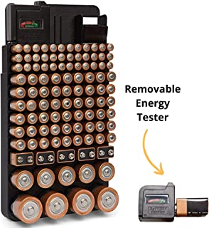 Bee Neat Battery Organizer Storage Case with Energy Tester - New and Improved Design Holds 110 Large and Small Batteries - Wall Mounted or in a Drawer