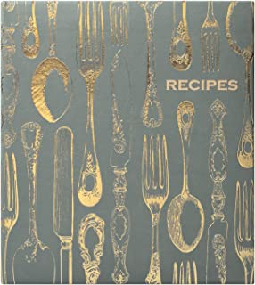 Eccolo World Traveler Recipe Keeper, Vintage Utensils, 9.5 x 8.5, Grey/Gold