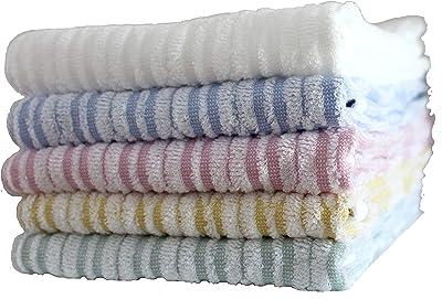 今治タオル 矢絣フェイスタオル (ホワイト、ピンク、ブルーイエロー、ブルー各1枚)