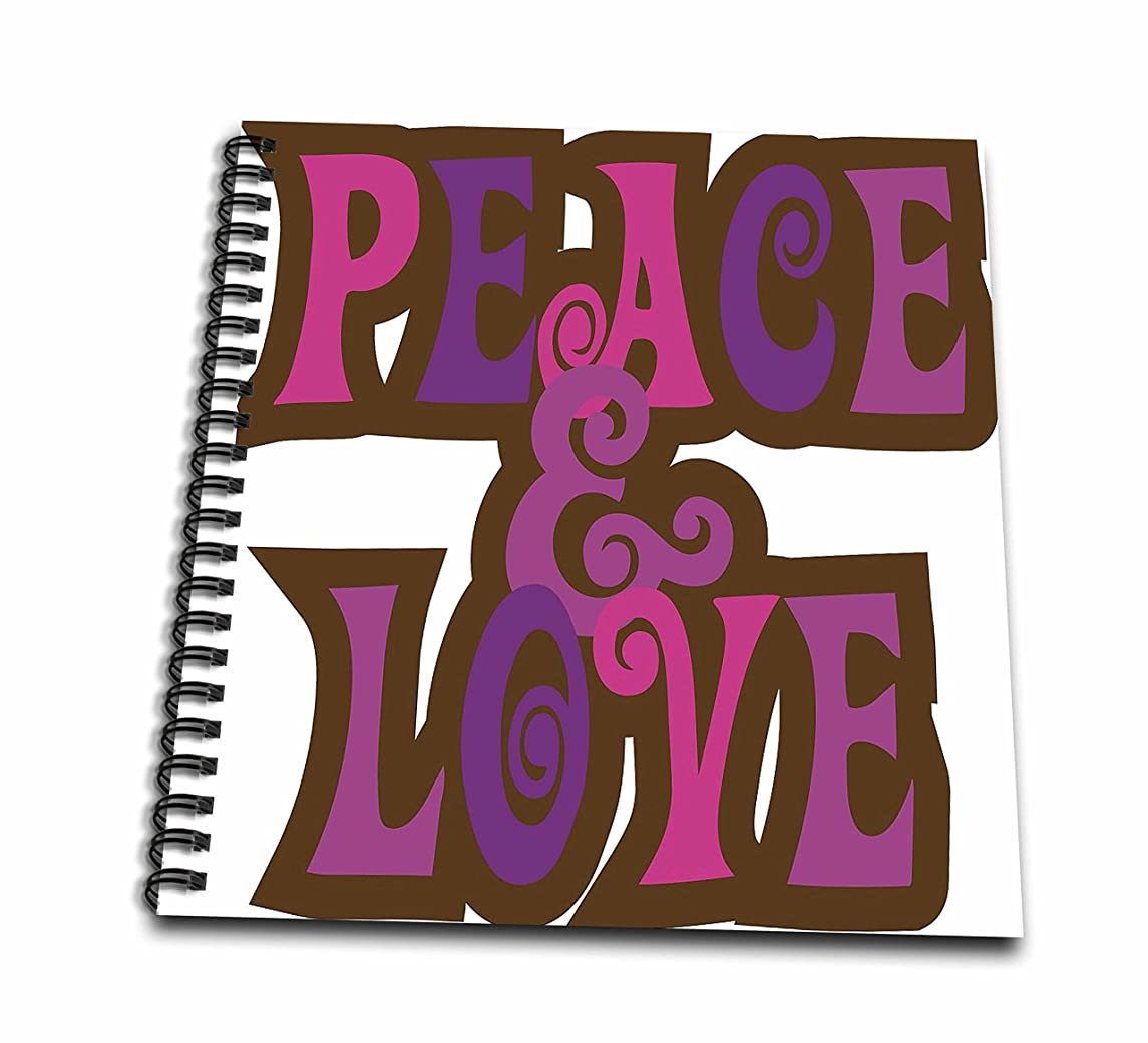 3dRose db_124620_1 Peace and Love Words in Pink and Purple Drawing Book, 8 by 8-Inch