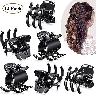 12 Pieces Hair Claw Clips Medium Size Hair Claws 1.3 Inch Hair Jaw Clip Claw Clip Grip for Women Girls Thick or Medium Hair (Black)