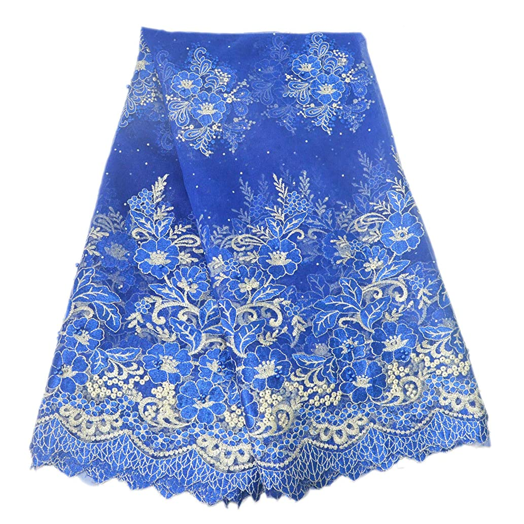 Aisunne African Lace Fabrics 5 Yards Nigerian French Lace Fabric Fashion Embroidered and Beading for Wedding Party Dresses (Blue)